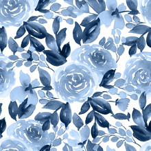 Loose Watercolor Flowers. Seamless Floral Pattern With Tea Rose In Indigo Blue