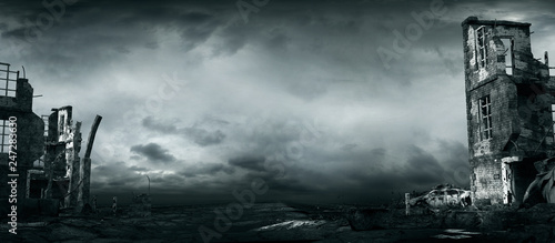 Stormy sky over ruined buildings Canvas Print