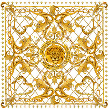 Silk Scarf With Golden Chains And Lion Head. Jewelry Shawl Design. Watercolor Hand Drawn Damask Luxury Background.