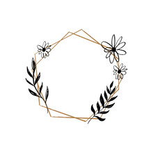 Hand Drawn Frame Illustration. Vector Floral Lurel Wreath With Flowers, Branches And Leaves