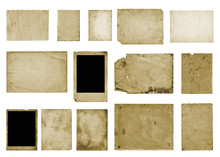 Set Of Old Vintage Dirty Photo Postcards On Isolated Background