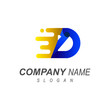 fast movement letter d logo template