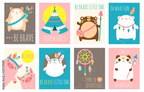 Photo  Vector set of cards cute woodland tribal animals