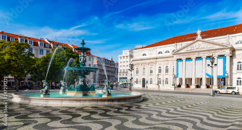 Fotobehang Centraal Europa Rossio Square, Lisbon by morning light