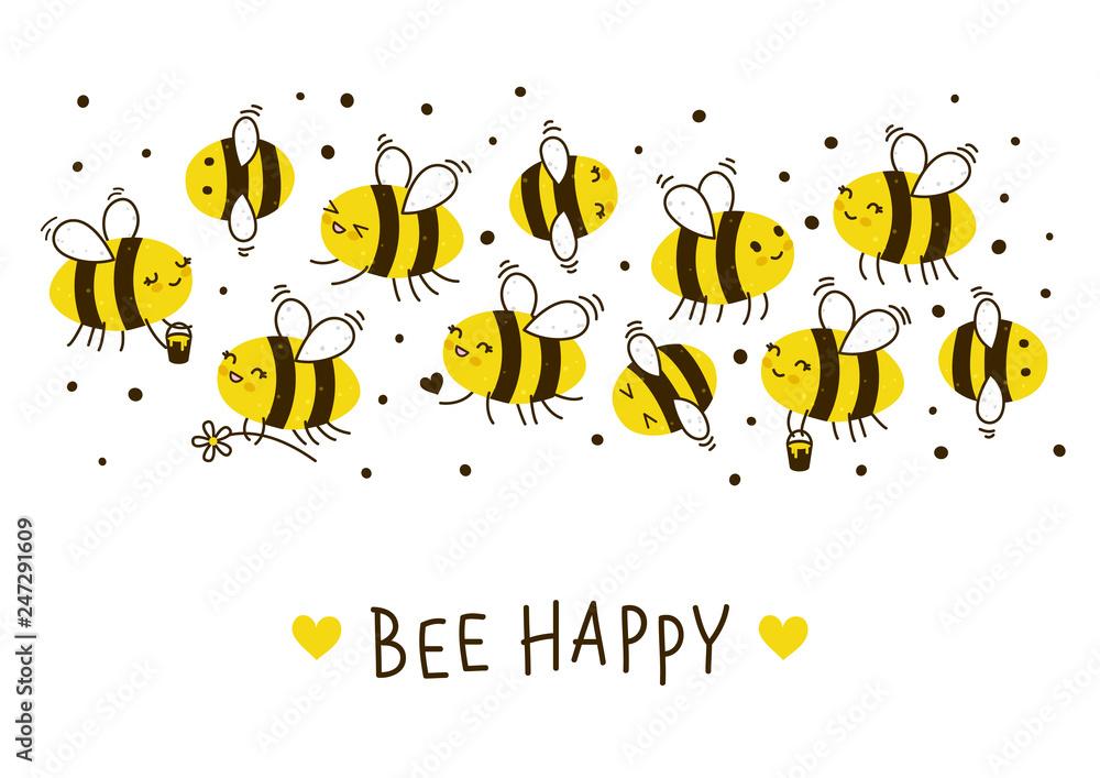 Fotografie, Obraz Cute honey bees border for Your kawaii design