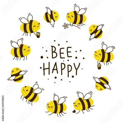 Cuadros en Lienzo Cute honey bees round frame for Your kawaii design