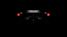 Silhouette Of Black Supercar W...