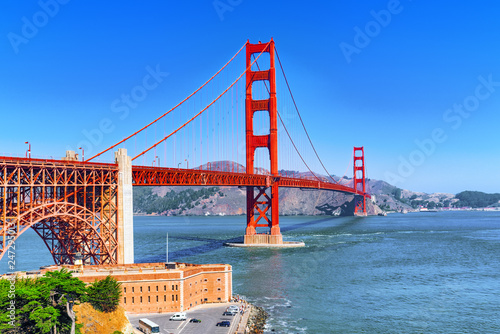 Foto op Plexiglas Centraal-Amerika Landen Panorama of the Gold Gate Bridge and the other side of the bay. San Francisco.