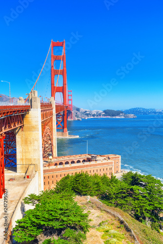 Spoed Foto op Canvas Verenigde Staten Panorama of the Gold Gate Bridge and the other side of the bay. San Francisco.