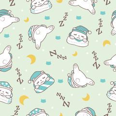 Sleeping Bear in Soft Green Background Seamless Pattern