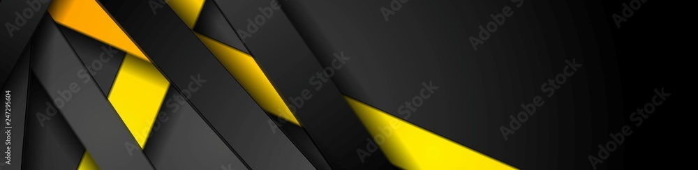 Fototapeta Bright yellow and black stripes abstract tech banner