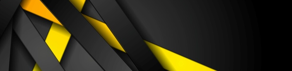 Bright yellow and black stripes abstract tech banner