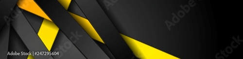 Fotografía  Bright yellow and black stripes abstract tech banner