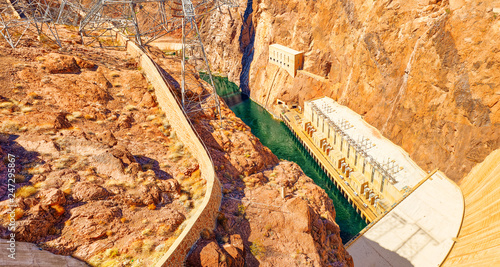 Foto op Plexiglas Centraal-Amerika Landen Famous and amazing Hoover Dam at Lake Mead, Nevada and Arizona Border.