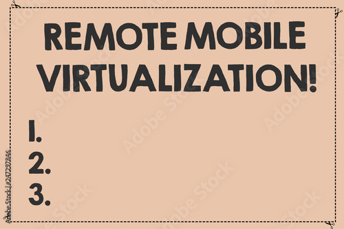 Handwriting text Remote Mobile Virtualization  Concept
