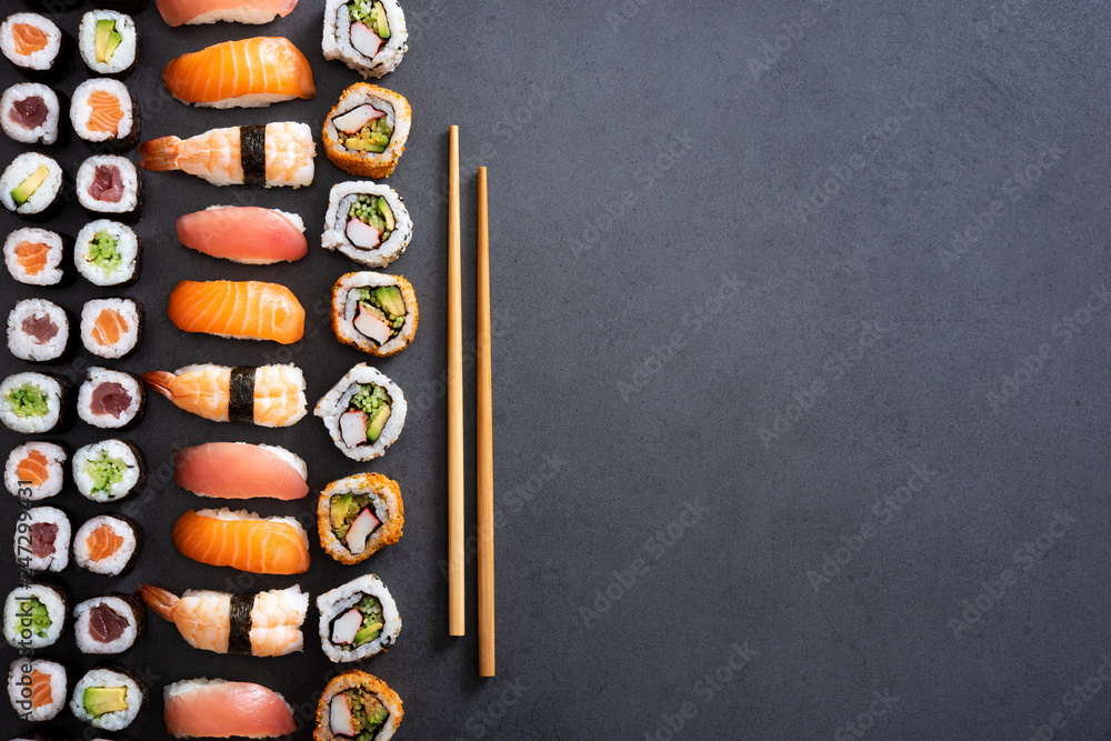 Fototapety, obrazy: Sushi rolls and nigiri background
