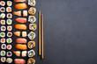 Sushi rolls and nigiri background