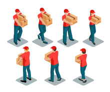 Courier. Isometric Figures Of Men And Women Wearing Red T-shirt And Cap And Carrying Boxes. Vector Set Isolated On White Background