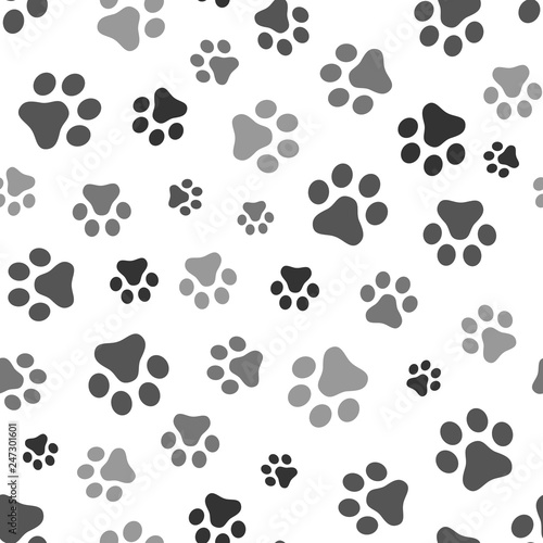 fototapeta na ścianę Dog Paw seamless pattern vector footprint kitten puppy tile background repeat wallpaper cartoon isolated illustration white - Vector