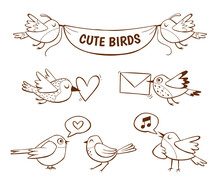 Hand Drawn Cute Bird Icons, Isolated On White Background. Vector Illustration.