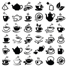 Tea Icon Collection - Vector Outline Illustration And Silhouette