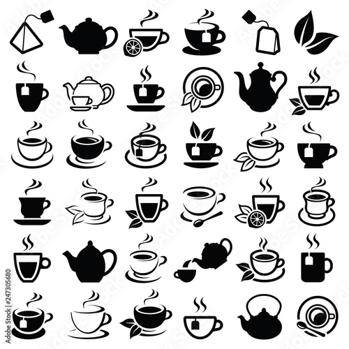 Foto Tea icon collection - vector outline illustration and silhouette