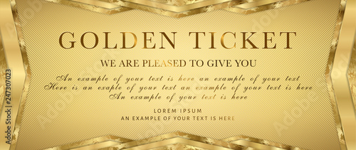 Fototapeta Golden ticket. Gold background for reward card design. Useful for Coupon, any festival, party, cinema, event or entertainment show obraz