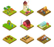 Isometric Farm. Farmer Tractor...