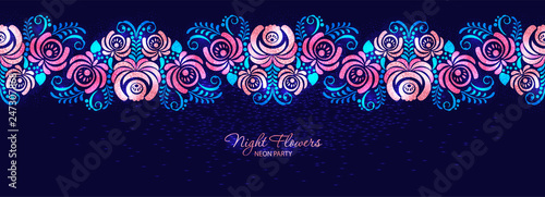 Vector Night Roses Neon Magenta Floral Seamless Banner Graphic