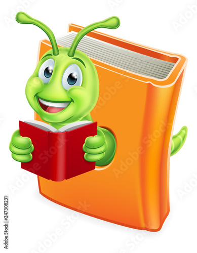 Fotografie, Tablou  A cute bookworm caterpillar worm cartoon character education mascot eating throu