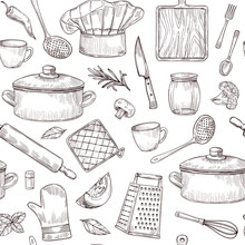 Kitchen Tools Seamless Pattern. Sketch Cooking Utensils Hand Drawn Kitchenware. Engraved Kitchen Elements Vector Background. Kitchenware Equipment, Cookware Accessory, Saucepan And Spoon Illustration