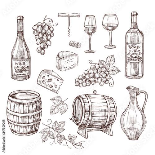 Fotografie, Obraz Sketch wine set