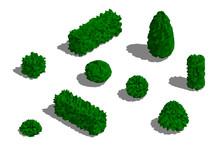 Set Of Different Bushes. 3D Lo...
