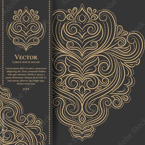 Fotografía  Gold vintage greeting card on a black background