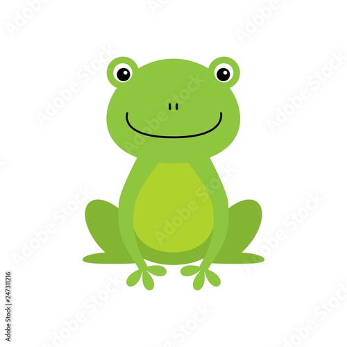 Fotografia Cute green frog cartoon character isolated on white background