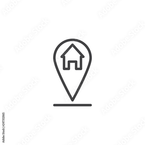 Home location pin line icon Canvas Print