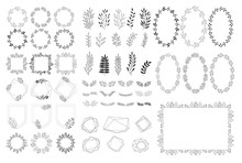 Set Of Summer Decorative Elements. Vector Herbs, Frames, Wreaths. Isolated. Hand Drawn Design.
