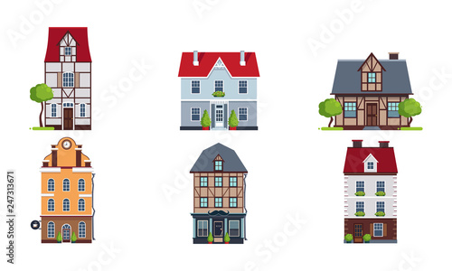 European Facades Of Houses Set Buildings Of Different Architectural
