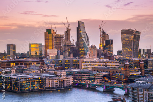 London City at dusk, London, United Kingdom Wallpaper Mural