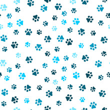 Dog Paw Seamless Pattern Vector Footprint Kitten Puppy Tile Blue Background Repeat Wallpaper Cartoon Isolated Illustration White - Vector