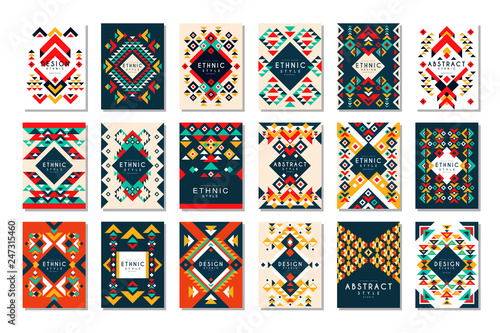 Colorful vector set of 9 card templates with geometric shapes Wallpaper Mural