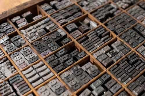 typographic mobile characters collected in a drawer for typography Fototapet