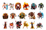 Fototapeta Fototapety na ścianę do pokoju dziecięcego - Fantasy creatures and humans. Orc, warrior in armor, fire monster, snake, viking, giant, wild man. Colorful flat vector design elements for mobile computer game