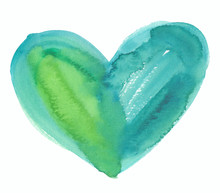 Turquoise Blue And Bright Green Heart Illustration Painted In Watercolor On Clean White Background