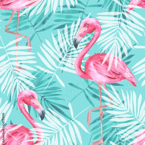 Fotografie, Obraz Tropical seamless pattern with flamingos and palm leaves