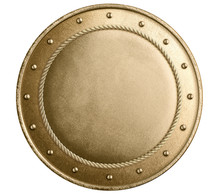 Gold Metal Round Shield Isolat...