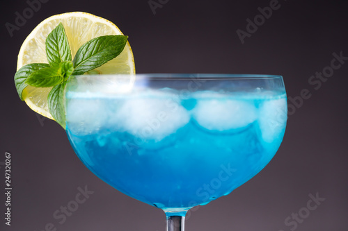 Blue lagoon cocktail with ice