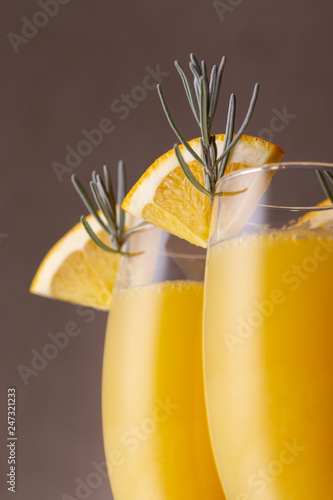 Two mimosa cocktails