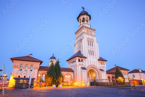 Staande foto Historisch geb. The Coronation Orthodox Cathedral and Roman Catholic cathedral in Fortress of Alba Iulia