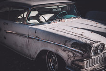 Front Side View Of A Worn And ...